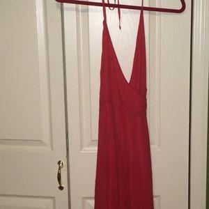 Frame Denim red silk chiffon wrap dress